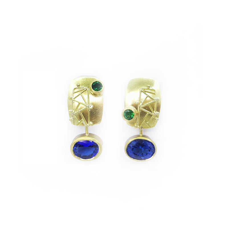 Tanzanite & Tsavorite Stud Earrings