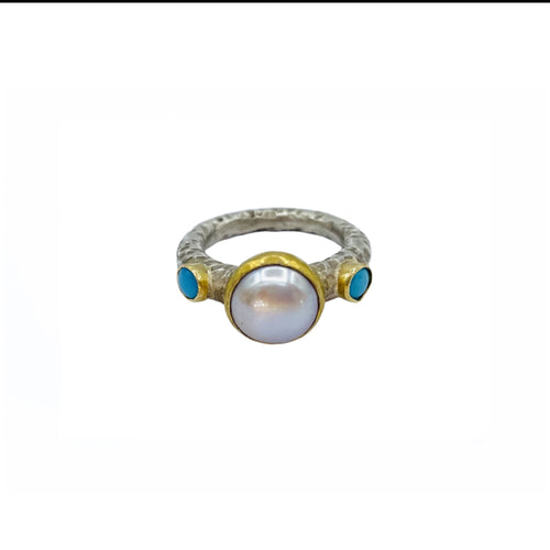 Pearl Turquoise Silver & Gold Ring