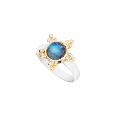 Moonstone Silver & 18kt Yellow Gold Ring