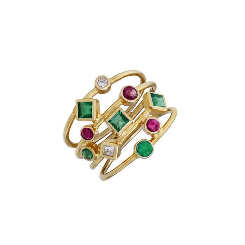 Ruby 0.45ct Emerald 0.75ct Diamind 0.11ct 18kt Yellow Gold Ring