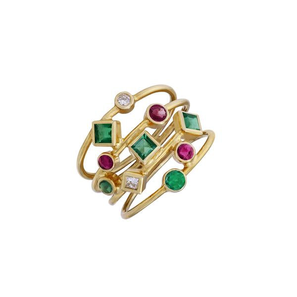 Ruby Emerald & Diamond Gold Stack Ring