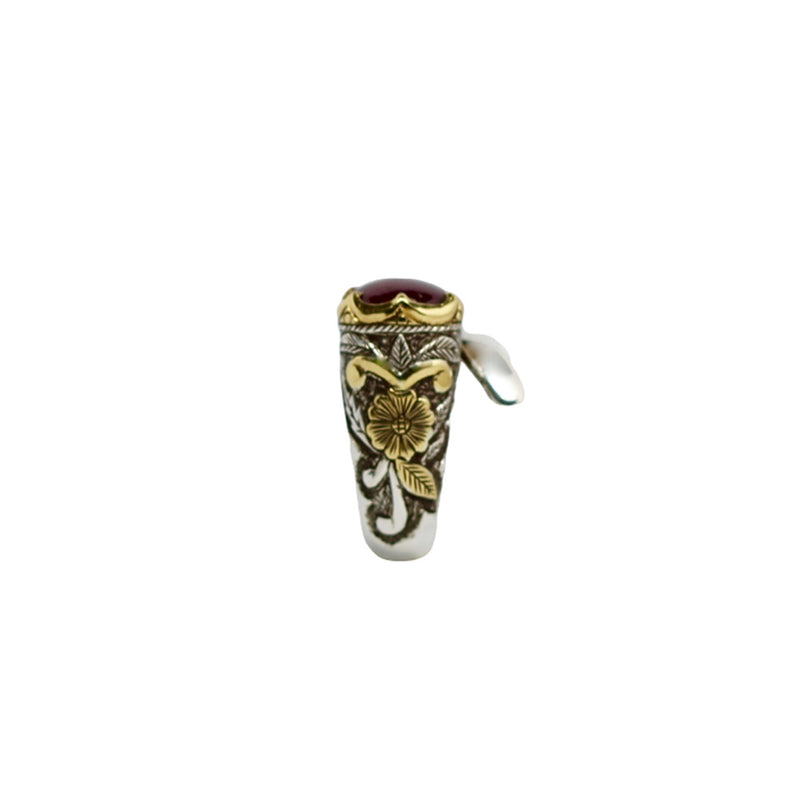 Rubellite Emerald Gold Silver Wrap Ring