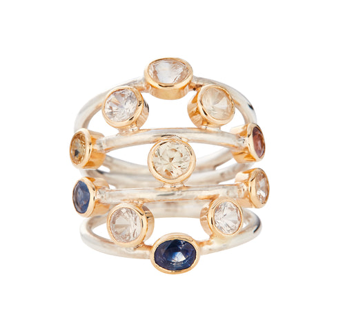 Sapphire 4.5ct  Orbit Silver & 18kt Gold Ring