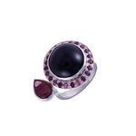 Ruby & Black Star Diopside Silver Ring