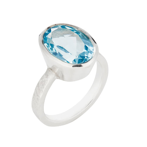Blue Topaz & Silver Ring