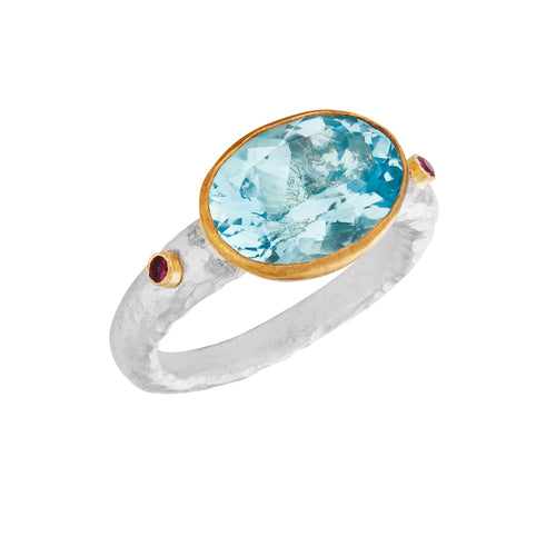 Blue Topaz Yellow Gold & Silver Ring