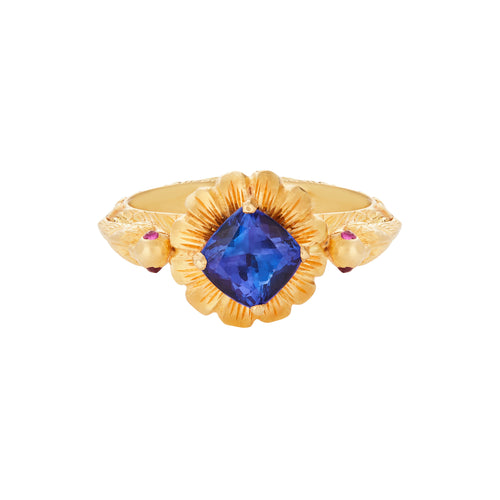 Tanzanite Hand Carved Bird Ring