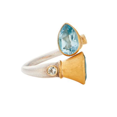 Blue Topaz & Tourmaline 24kt Gold & Silver Ring