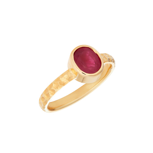 Ruby 1.85 Carat & 18kt Yellow Gold Ring