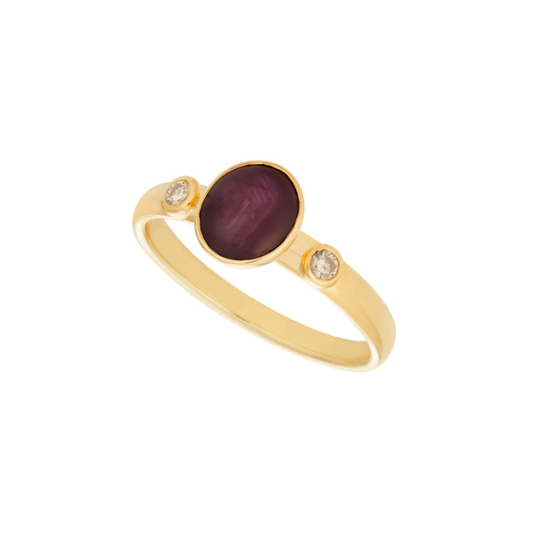 Star Ruby 1.25ct & Diamond 0.06ct 18kt Yellow Gold Ring