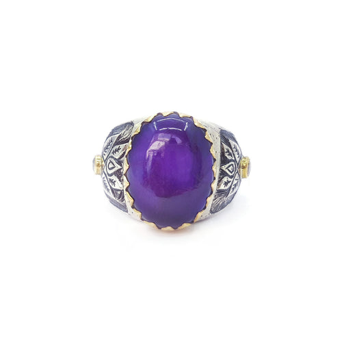 Sugilite & Diamond Silver & Gold Flower Ring