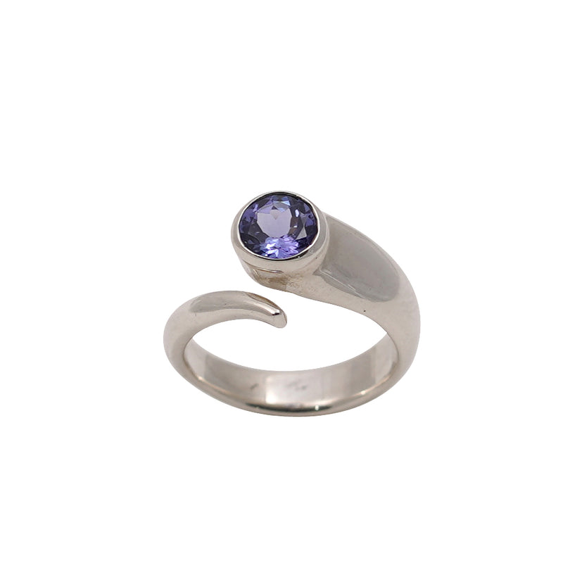 Tanzanite Round Silver Wrap Ring