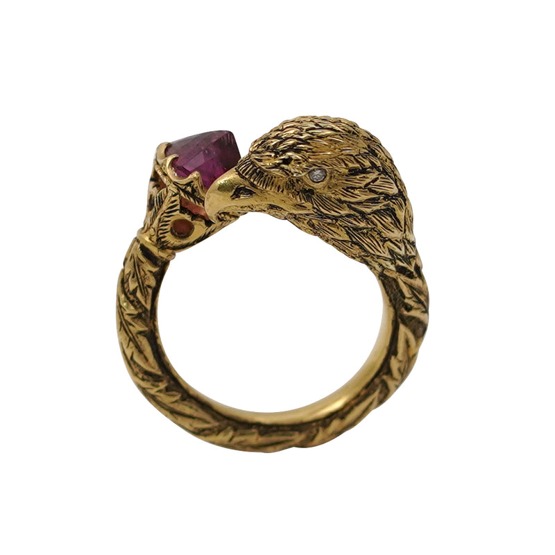 Rubellite & Diamond  Eagle Gold Ring