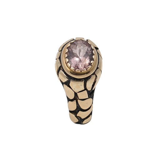 Tourmaline Silver & Gold Giraffe Ring