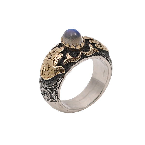 Rainbow Moonstone Gold & Silver Hamsa Ring