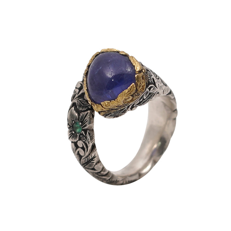 Tanzanite Carved Gold & Silver Wrap Ring