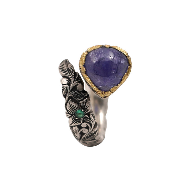 Tanzanite Carved Gold & Silver Carved Wrap Ring