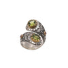 Peridot Ruby Silver & Gold Flower Ring