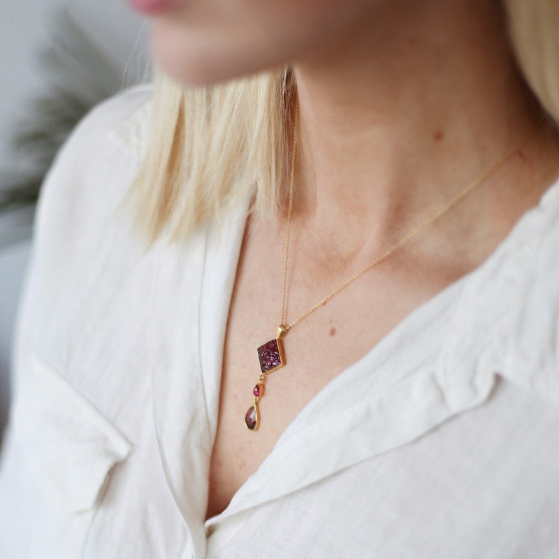 Watermelon Tourmaline & Ruby Gold Necklace