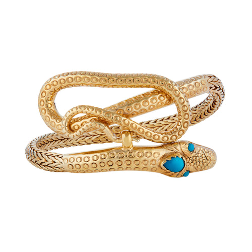 Turquoise Gold Plated SIlver Snake Bracelet