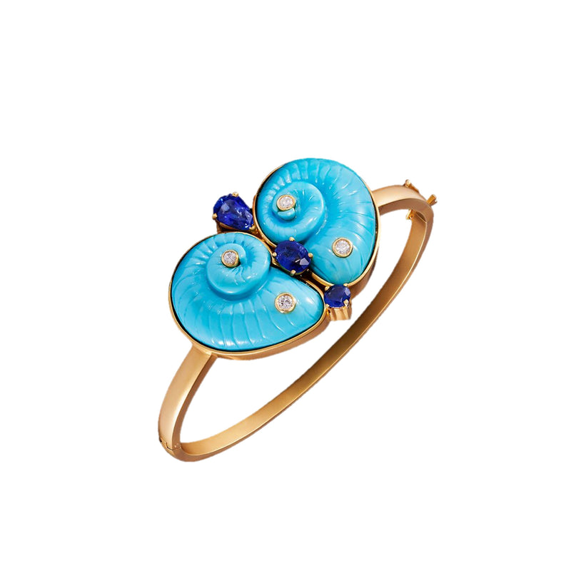 Turquoise Diamond, Sapphire & Gold Bangle