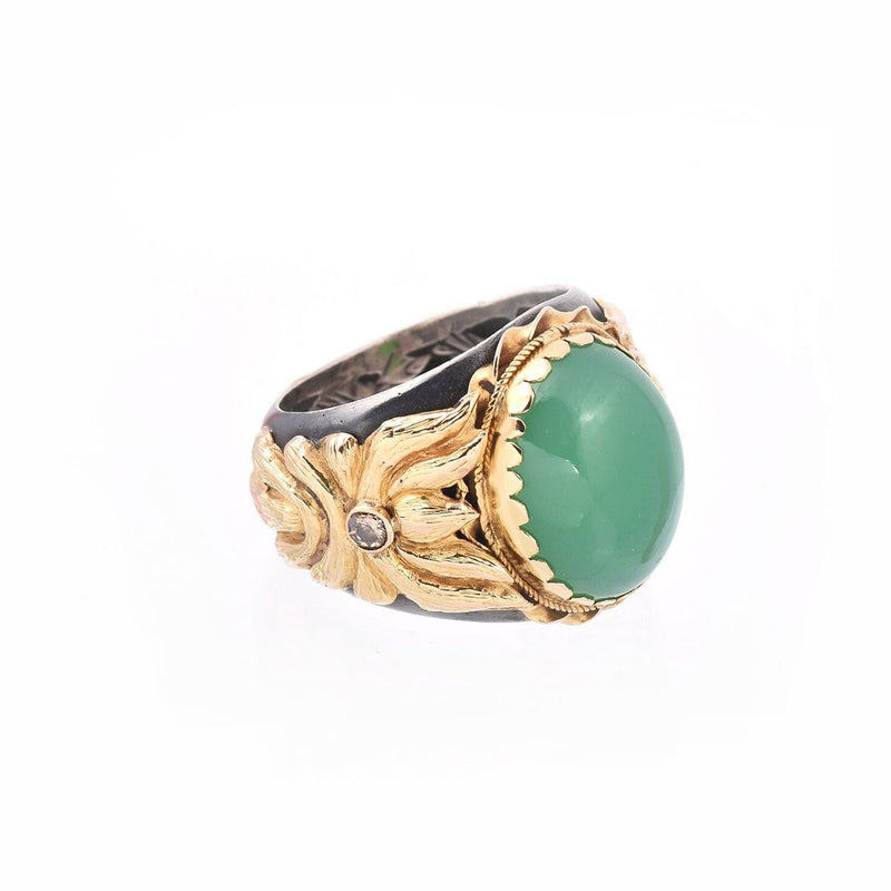 Chrysoprase & Diamond Silver & Gold Ring