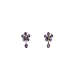 Tanzanite 18kt Gold Flower Drop Earrings