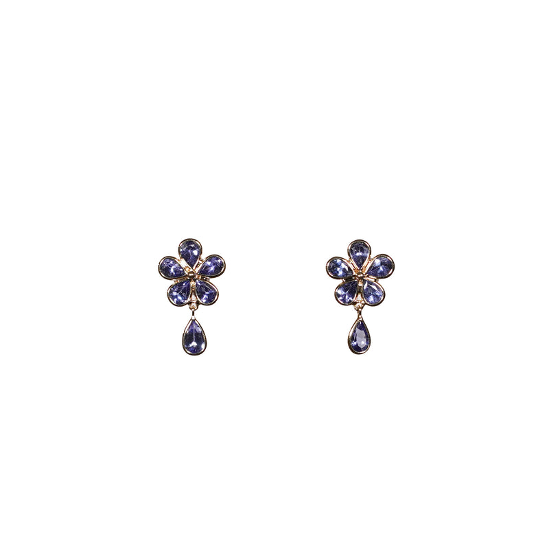 Tanzanite Flower Drop Stud Earrings