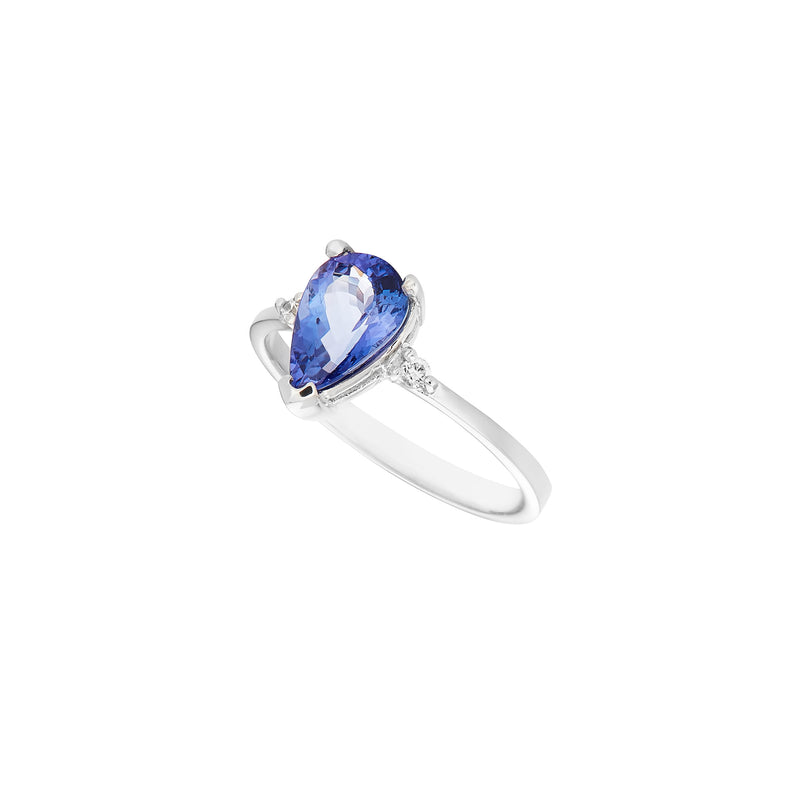 Tanzanite & Diamond Pear Shape White Gold Ring