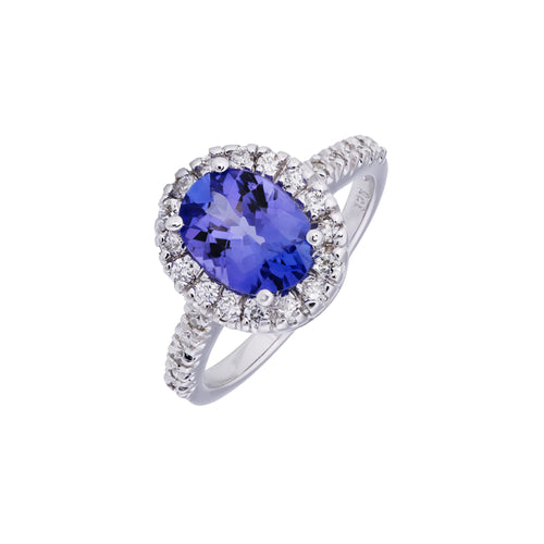 Tanzanite & Diamond 9kt White Gold Ring