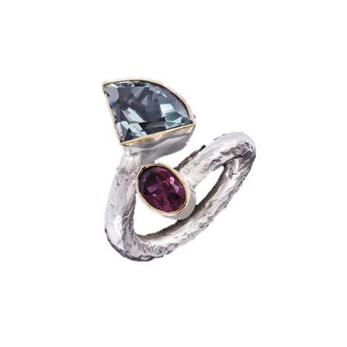 Aquamarine & Rubellite Tourmaline Ring