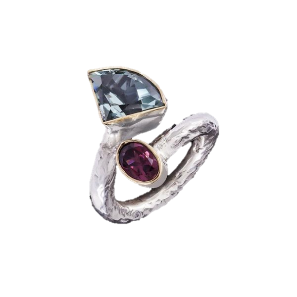 Aquamarine 5.00ct & Rubellite Tourmaline Ring