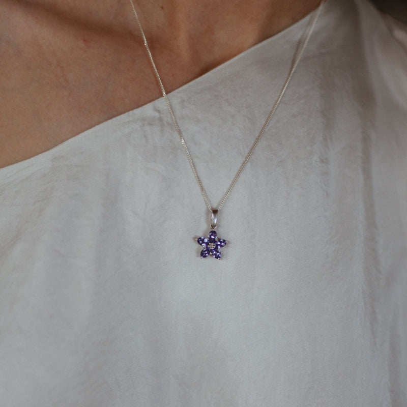 Tanzanite & Diamond Silver Flower Pendent