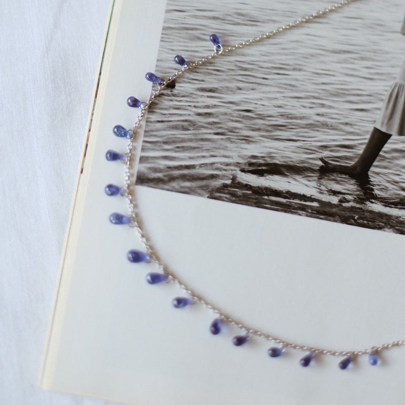 Tanzanite 17 Drops White Gold Necklace