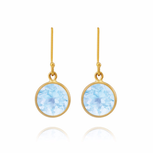 Blue Topaz & 18kt Yellow Gold Earrings