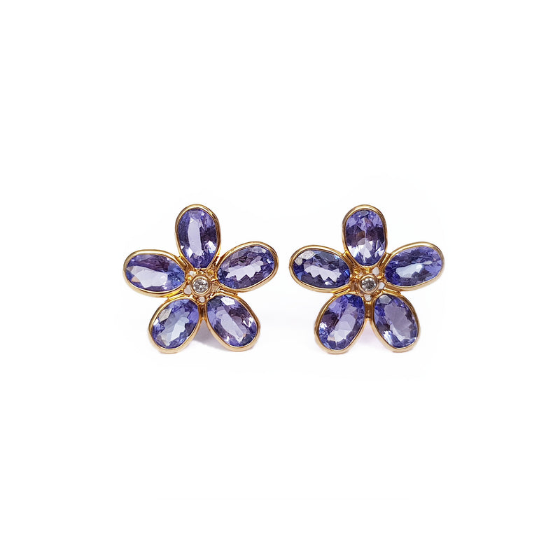 Tanzanite & Diamond Gold Stud Earrings