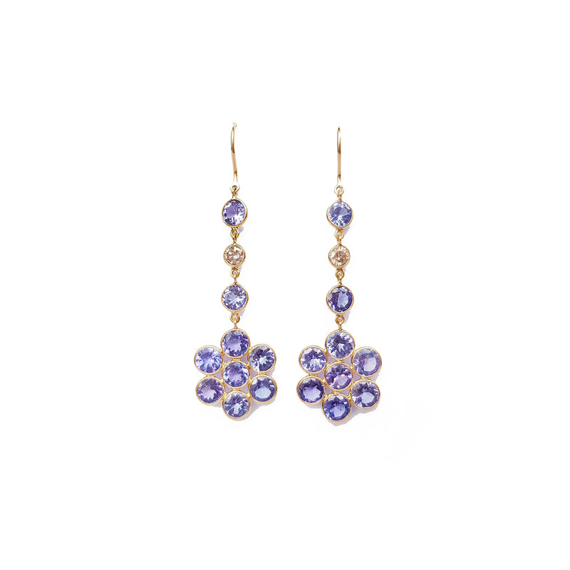 Tanzanite & Diamond Flower Drop Earrings