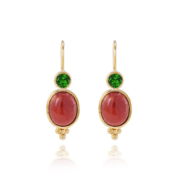 Coral & Tsavorite Earrings