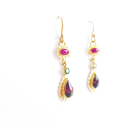 Ruby, Tsavorite & Watermelon Tourmaline Earrings
