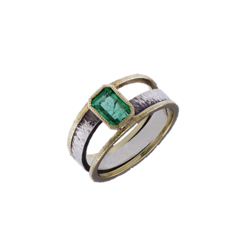 Emerald Gold & Silver Ring