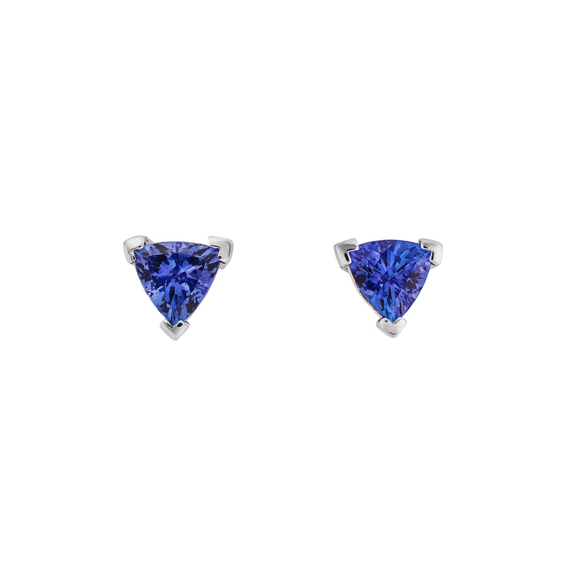 Tanzanite & White Gold Triangular Stud Earrings