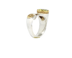 Green Tourmaline Gold Silver Wrap Ring