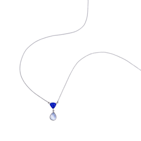 Tanzanite & Moonstone & 18kt White Gold Necklace