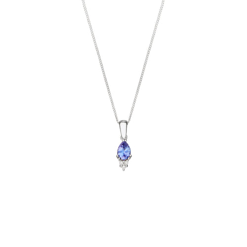 Tanzanite 0.676ct  & Diamond 0.045ct 9kt White Gold Necklace