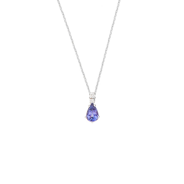 Tanzanite 1.39ct & 9kt White gold Necklace