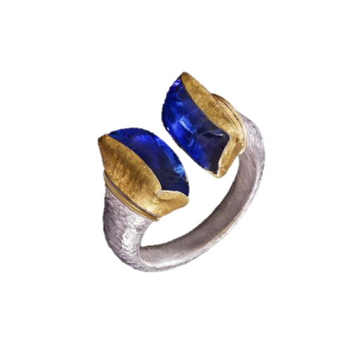 Kyanite 24kt Gold & Silver Ring
