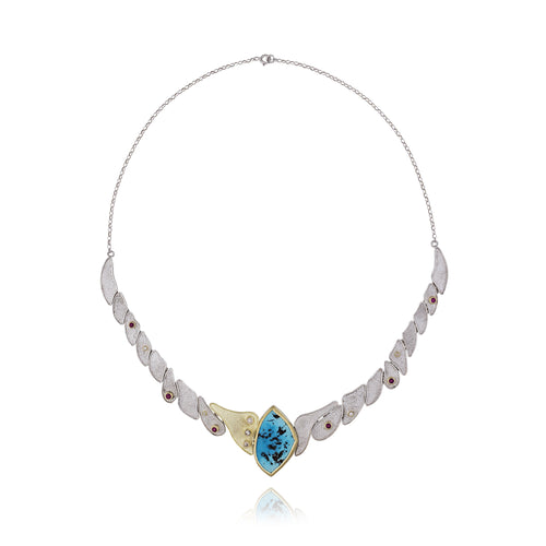 Turquoise Ruby Diamond Silver & 18kt Yellow Gold Necklace