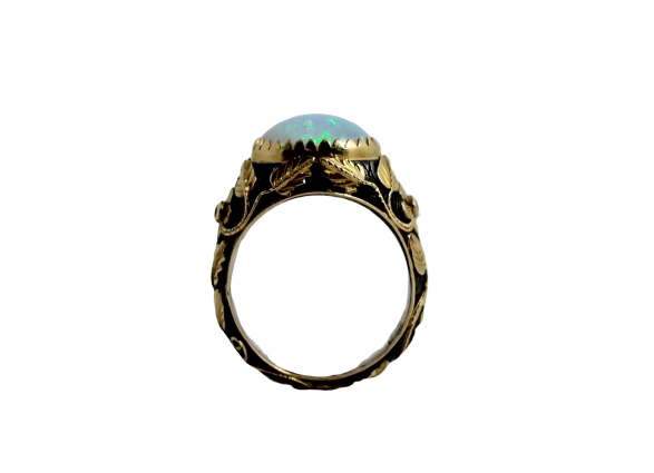 Opal & Diamond Silver & Gold Ring