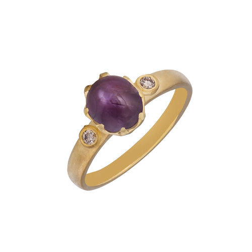 Star Ruby Diamond & 18kt Yellow Gold Ring