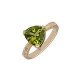Peridot 4.00 Carat & Diamond 0.15 Carat 18kt Yellow Gold Ring